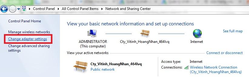 chọn change adapter setting sửa mạng máy tính tại nhà